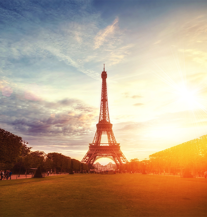 View of the Eiffel Tower at Sunset in Paris, France