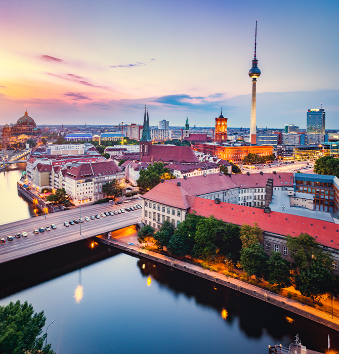 View of City in Germany at Sunset