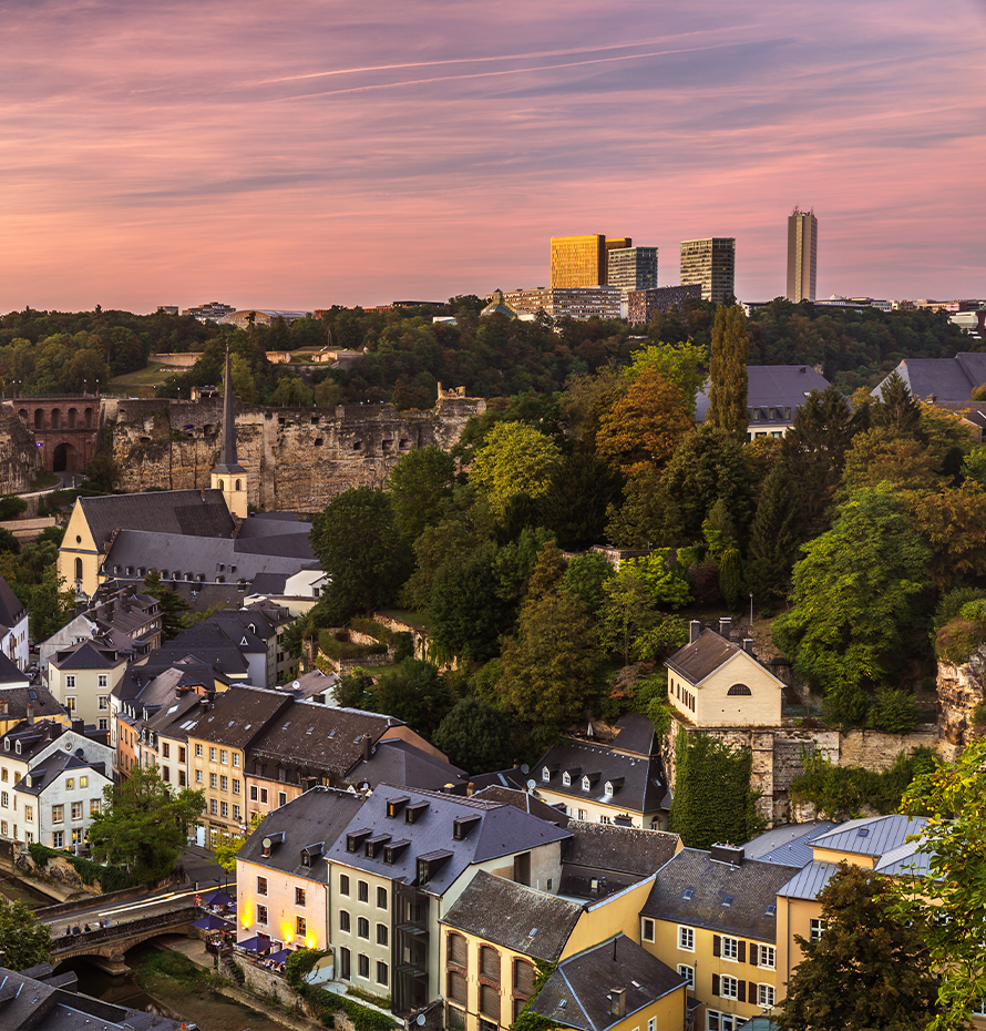 Aerial View of City in Luxembourg at Sunset