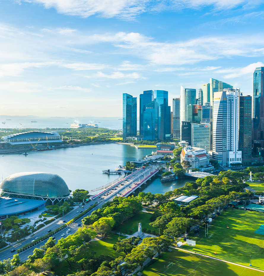 Aerial View of Buildings and Surrounding Area in Singapore on a Sunny Day