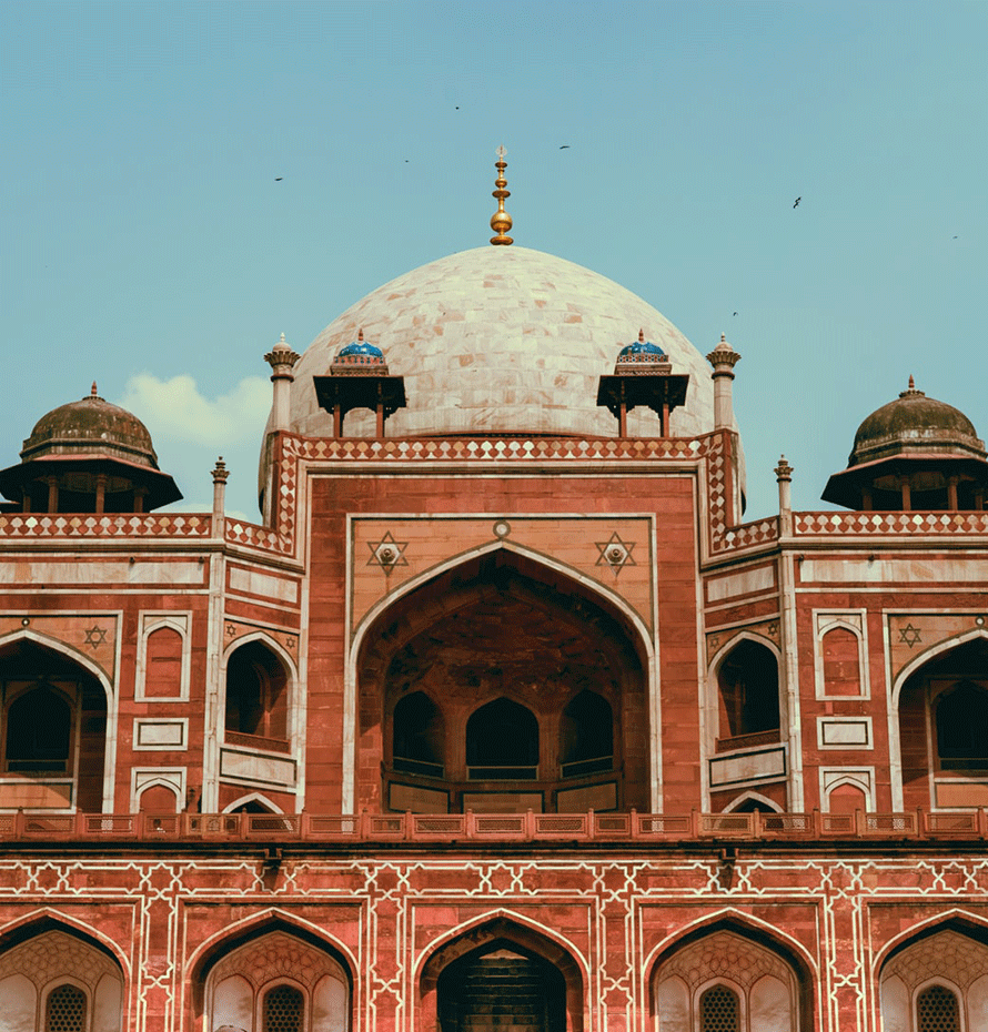 Close-up View of Humayun's Tomb in India